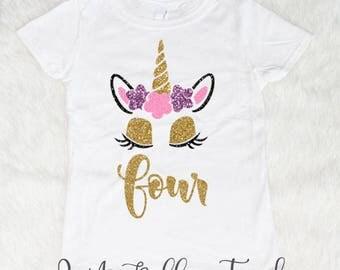 Four Unicorn Birthday Shirt, Birthday Girl Shirt, Birthday Shirts for Girls, 4th Birthday Outfit, 4 birthday Shirt, 4 Year old Birthday Girl