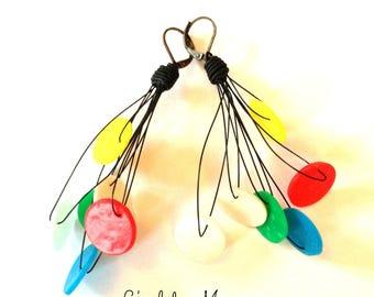 Earrings creator colorful lozenges