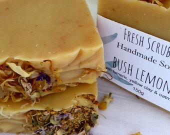 Bush Lemon + Oatmeal & Yellow Clay handmade soap, natural soap,artisan soap, coldprocess soap, essential oils,tumeric infused oils
