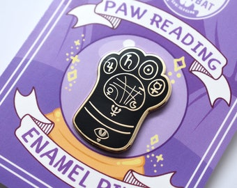 Kawaii Paw Reading Enamel Pin - ( Cute Occult Palm Reading Psychic Label Pin )