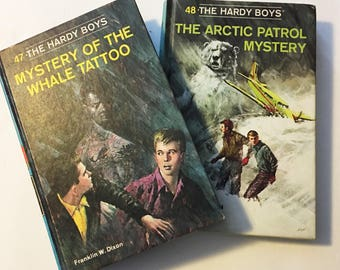 Vintage Hardy Boys Mystery Books 47 Mystery of the Whale Tattoo & 48 The Arctic Patrol Mystery Retro 1960 Franklin W. Dixon Hardcover Book