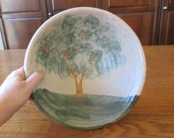 Vintage Pottery Bowl with Tree Handmade Signed by Artist (Mint Condition)