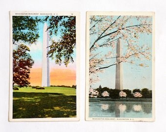Set of 2 Vintage Postcards 1920 1930, Washington DC Monument