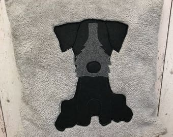 Little black Terrier - grey/silver soft   Furry Cushion with velour back