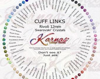 CUFFLINKS 12MM Round Size YOU DESIGN Made With Swarovski Crystal *Antique Silver *Karnas Design Studio™ *Free Shipping
