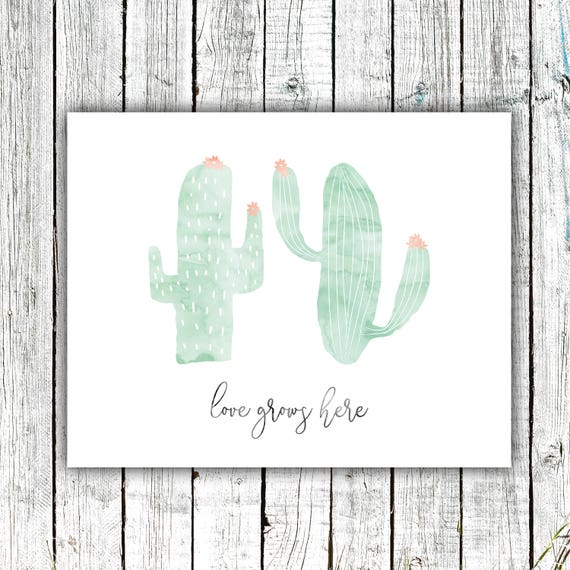 Nursery Cactus Printable, Love Grows Here, Cactus, Mint and Coral, Digital Download Multiple Sizes #659