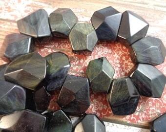 6 Large Heavy Geometric Shaped Black Stone Beads 20x17x10mm Large Black Faceted Beads Flat Geometric Beads Heavy Green Black Beads #S1151