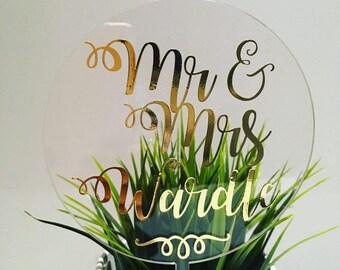Mr & Mrs Custom Name Acrylic Wedding Cake Topper Gold