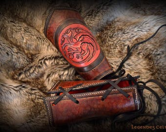 """""""Mother of Dragons"""" leather cuff"""