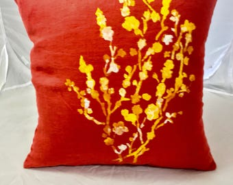 Cushion linen washed 45 cm X 45 cm orange with a nice Japanese cherry