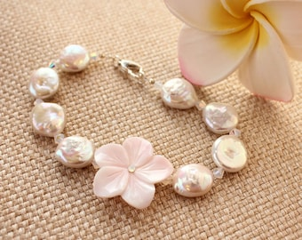 Carved Pink Conch Shell Plumeria Bracelet, Coin Pearl Frangipani Bracelet, Hawaiian Bracelet, Beach Wedding Bracelet, Tropical Bracelet