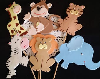 Jungle Decorations, Safari Cake Topper, Zoo Animal Cake Topper, Safari Birthday, Jungle Birthday Decor, Safari Animals Centerpieces, 6 Picks
