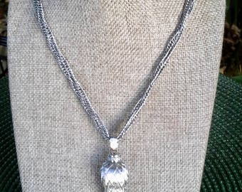 Vintage Monet silver tone double twisted chain necklace with tassel pendant