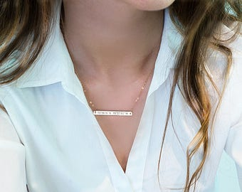 Bar necklace, Personalized Engraved bar necklace, Custom coordinates Name plate necklace Gold Silver Rose Gold Custom name Necklace N110