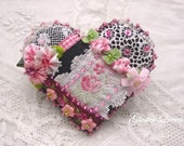 Crazy Quilt black heart pin with lovely vintage French ribbon with roses, vintage lace and ombre ribbon flowers