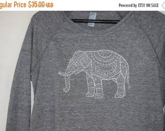 MOVING SALE Elephant Sweatshirt, Mendhi Art, Perfect for Yin Yoga, Restorative Yoga, Meditation, Customize your pullover color and design co