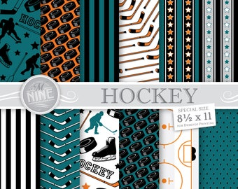 HOCKEY Digital Paper / Hockey Party Printables / 8 1/2 x 11 Teal and Orange Hockey Patterns, Sports Theme, Hockey Downloads, Hockey Party
