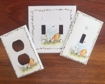 Classic Winnie the Pooh classic Light switch cover baby nursery // piglet holding hands // SAME DAY SHIPPING**