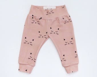 Coral Pink Cats Baby Leggings