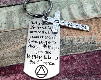 Sobriety Gift for Men, Serenity Prayer, Sober anniversary, Custom AA Gift, NA recovery, Addiction Recovery, Sobriety Keychain, AA recovery