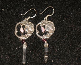 Art Nouveau Woman Sterling Silver Quartz Crystal and Pearl Drop Earrings