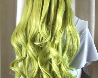 Long curly olive green Wig. Ready to ship.