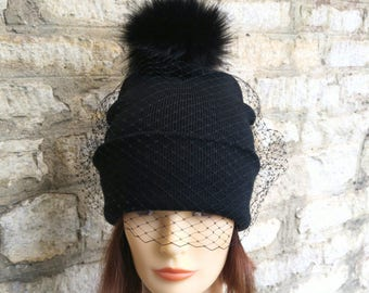 6d410e34bc7 VEILED BEANIE SOFT FAUX FUR POM POM BEANIE WITH VEIL BLACK BEANIE WITH VEIL  AND SOFT BLACK POM POM on The Hunt