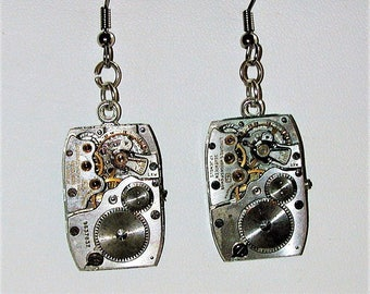 Steampunk Vintage Watch Movement Earrings #1 OOAK