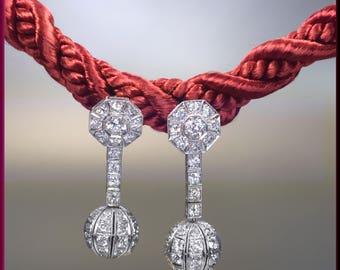 Antique Vintage Art Deco Diamond Chandelier Dangle Drop Earrings - EA 508S