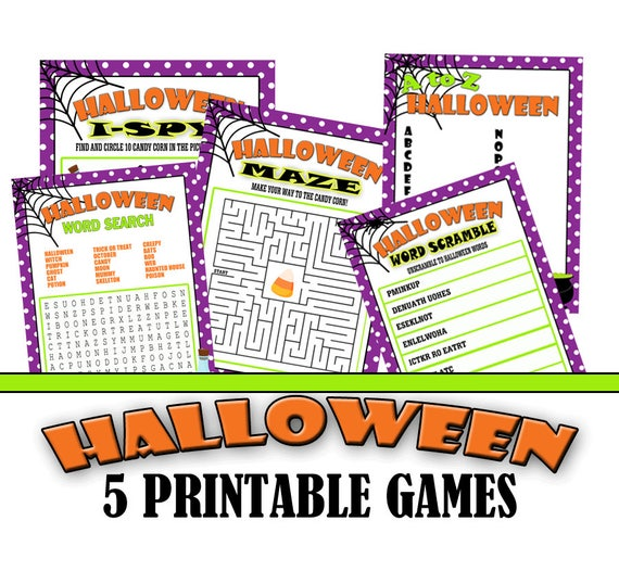 Halloween Printable Games, Class Halloween Party, Class Party Games, Discounted Five Pack, Maze, I-spy, Word Scramble, Word Search, A to Z