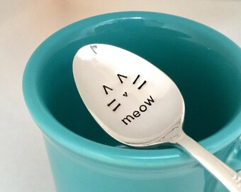 Meow spoon, Ready to ship - cat woman gift, vintage hand stamped teaspoon, Crazy cat lady spoon, Cute cat face tea spoon, Cat coffee spoon