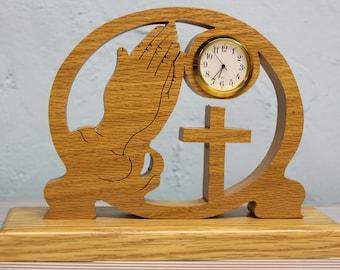 scroll saw cut praying hands desk clock
