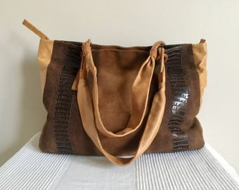 Vintage S Scala Brown Suede Leather Tan Leather Trim Hobo Style Satchel Shoulder Bag Purse