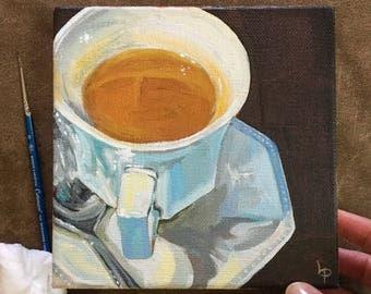 Original Acrylic Painting, Tea Cup, Kitchen Art, Small Painting 6x6, Acrylics on Canvas, Mini Art