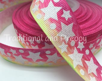 "3 yards 7/8"" Rainbow Glitter Star Stars multicolored grosgrain ribbon"