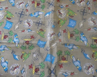 """pirate and treasure"" fabric on grey background"