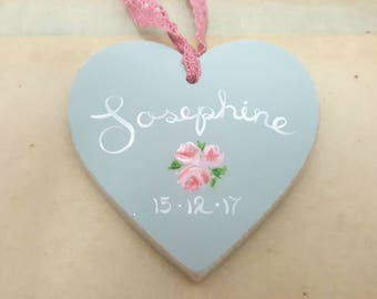 Little rose personalised wooden heart - choose your wording in English or Arabic
