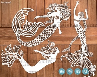 Mermaid SVG Bundle!! 3 Papercut Templates | Little Mermaid svg cut files | Commercial and personal use | Paper Cut Out | for Cricut Cameo