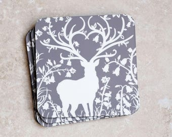 Grey Stag Pack of 4 Coasters