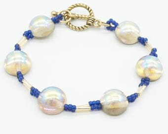 dome beads bracelet, bugle beads bracelet, beadwoven bracelet, handmade bracelet, blue and gold bracelet, beadwork bracelet, seed beads