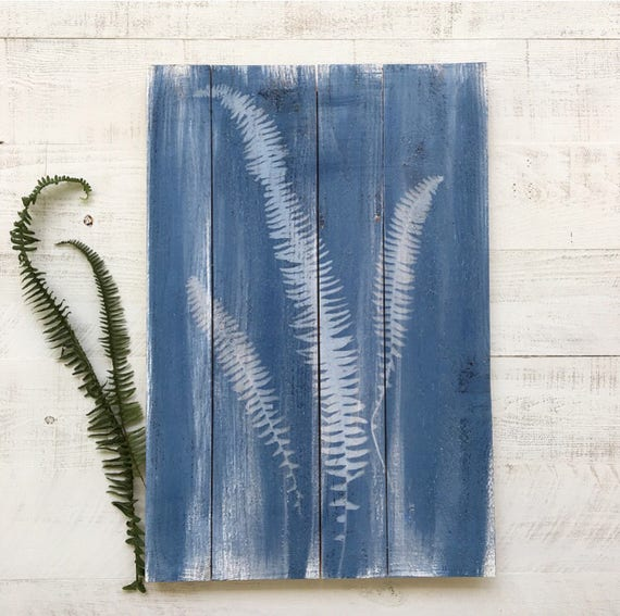 Botanical Fern Wood Sign - Cyanotype
