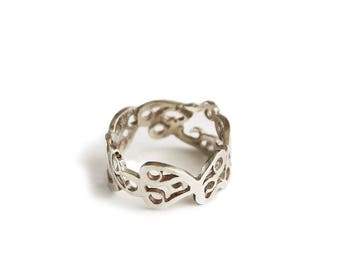 Silver Lace ring, Silver Butterfly Filigree ring, original design pattern band ring.