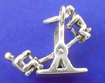 TEETER TOTTER 925 Sterling Silver Charm Kids On See Saw Pendant - lp4013