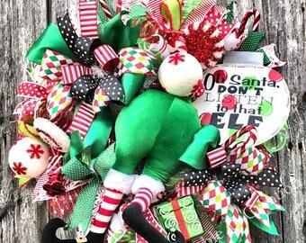 Elf Wreath, Christmas Wreath, Christmas Decor, Elf Decor, Elf Butt Wreath, Holiday Wreath, Whimsical Elf Wreath, Elf Door Hanger