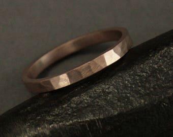 Rose Gold Wedding Band--Hammered Wedding Ring--2mm Flat Edge Ring--Women's Wedding Band--Pipe Edge Band-Shiny Hammered Ring-Ladies Flat Band