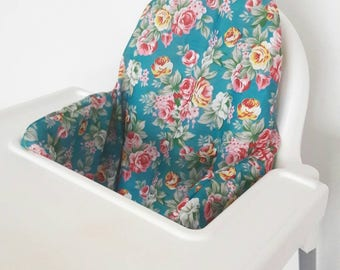 Antilop IKEA highchair cushion cover - cushion cover only - tropical bright roses floral cushion cover - READY to SHIP