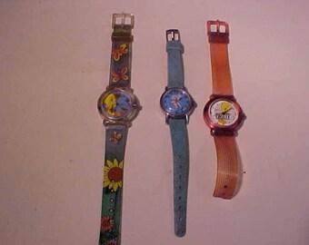 Three Vintage Warner Bros. Childrens  Armitron WatchesSnoopy and Tweety Bird