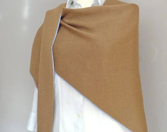 From caramel - coloured Merino Wool with colored crochet scarf