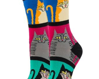 Mod Meow Socks / Funny Socks /Gift socks / Wedding socks / Oooh Yeah Socks / Cool Socks