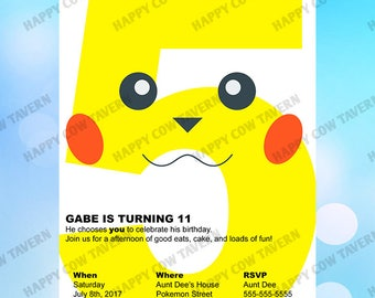 Pikachu Inspired Birthday Invitation